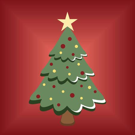 festive: cartoon Christmas tree on red background Illustration
