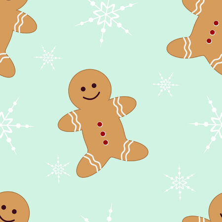 Seamless background with gingerbread man and snowflakes on mint green Vector