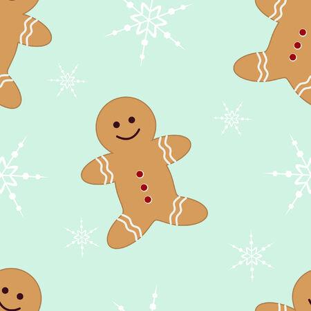 holiday cookies: Seamless con el hombre de pan de jengibre y copos de nieve sobre la menta verde