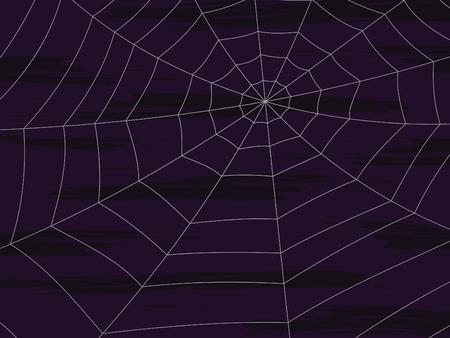 spider web illustration on dark purple textured background Vectores