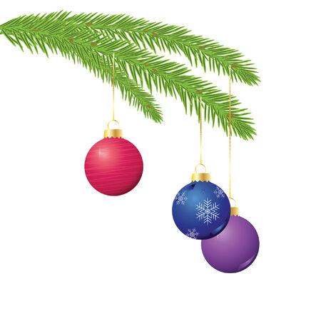 illustration of three Christmas ornaments hanging from an evergreen branch