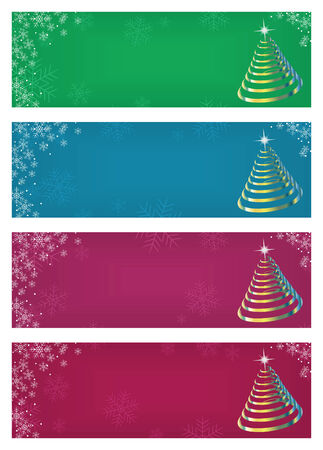 set of colorful abstract banners with Christmas trees and snowflakes