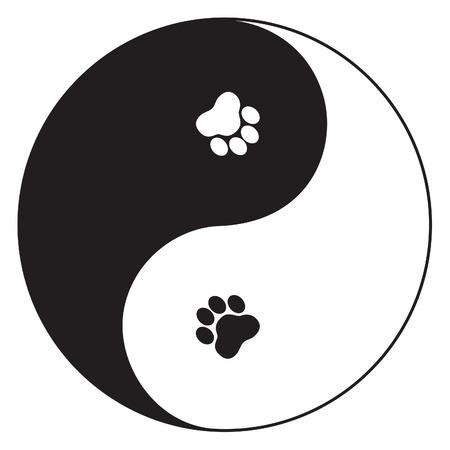 yin et yang: Symbole Yin Yang avec empreintes de pattes Illustration