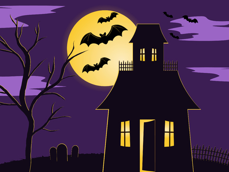 Halloween scene of spooky haunted house in fenced yard with graveyard and tree. lit up by the moon with  bats flying past Vectores