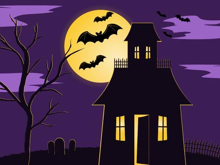 Halloween-Szene von spooky Haunted House in eingezäunten Hof mit Friedhof und Baum. leuchtet der Mond durch die Fledermäuse fliegen mit Vergangenheit Standard-Bild - 5267019