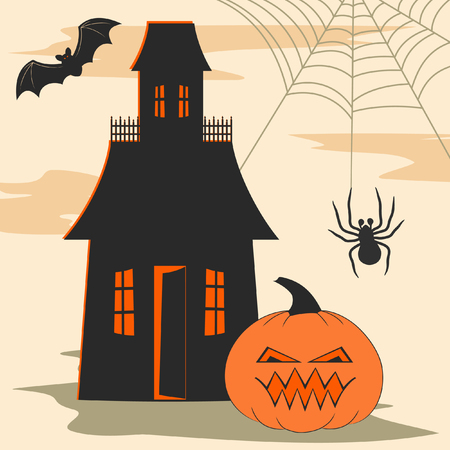 Halloween design elements including haunted house, spider, spiderweb, bat and scary jack o' lantern