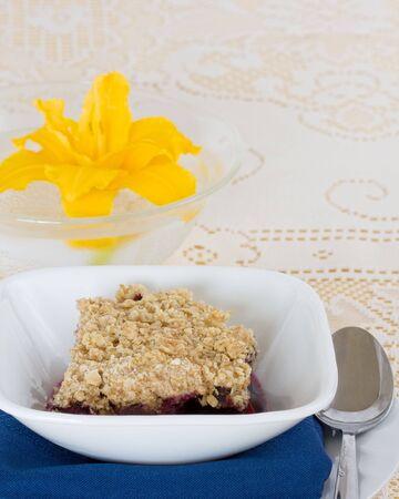delicious home-made blueberry crisp dessert