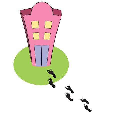 footprints leading to pink cartoon building