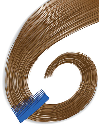 illustration of combing shiny long brown hair with a blue comb Иллюстрация