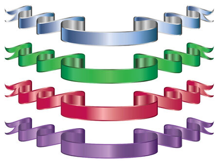 set of four metallic ribbons or banners