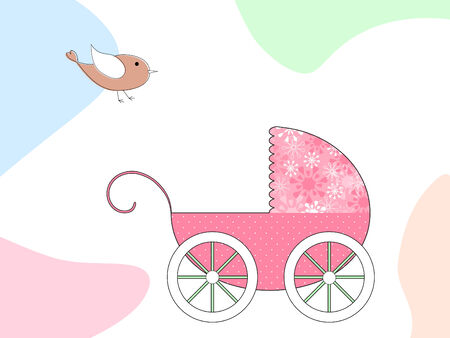 an adorable pink baby carriage with polka dots and flowers Stock Vector - 5585346