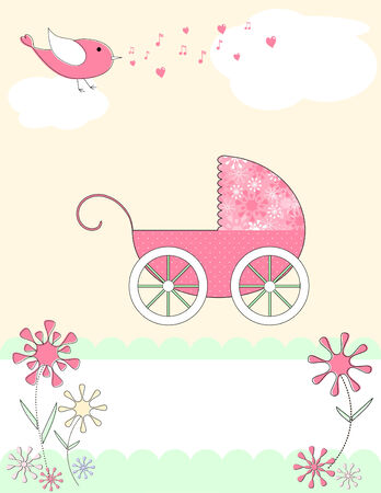 an adorable pink baby carriage with polka dots and flowers