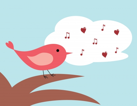cartoon bird: cute cartoon bird perched on a tree singing a love song Illustration