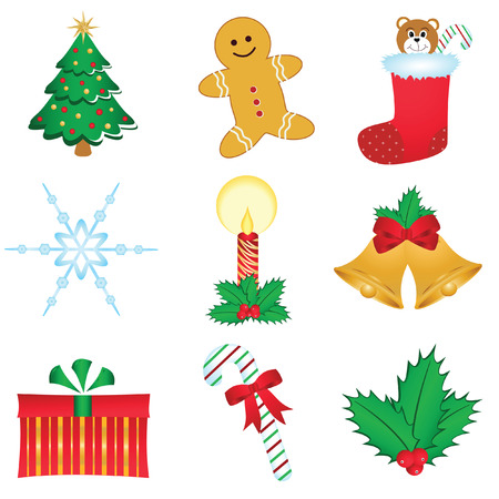 set of nine assorted Christmas icons isolated on white background Vector