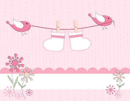 baby booties carried on a clothesline by cute birds is sure to welcome the arrival of a new baby girl