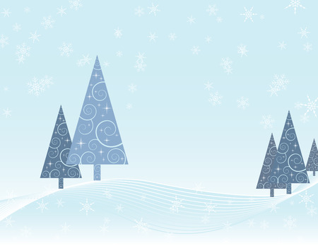 Christmas card depicting winter scene of trees with swirl pattern in a snowy landscape Vectores