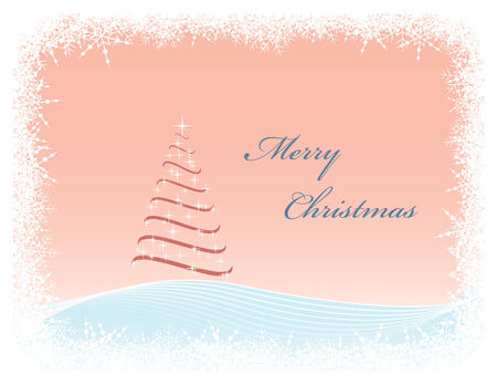 Christmas greeting card with abstract Christmas tree surrounded by snowy border Vector