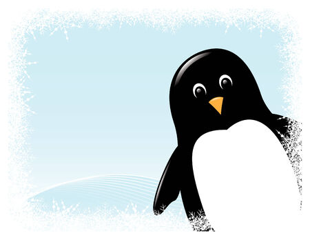 cute cartoon penguin surrounded by snowy border Illustration