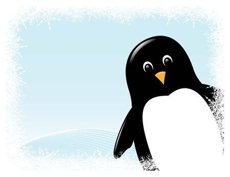 pinguino caricatura: de dibujos animados de ping�inos lindo rodeado de las fronteras de nieve