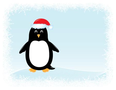cute cartoon penguin in santa hat surrounded by snowy border Ilustração
