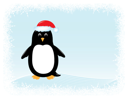cute cartoon penguin in santa hat surrounded by snowy border Vectores