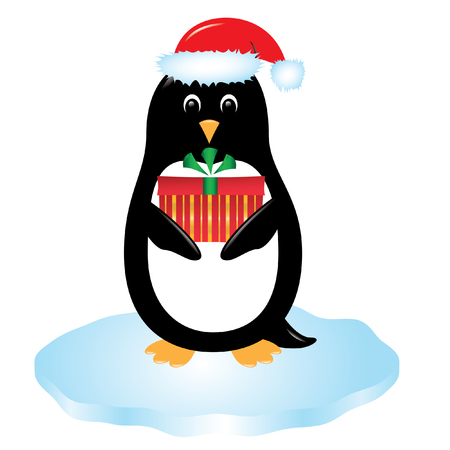 christmas gift: cute cartoon penguin in santa hat standing on ice holding a wrapped Christmas gift