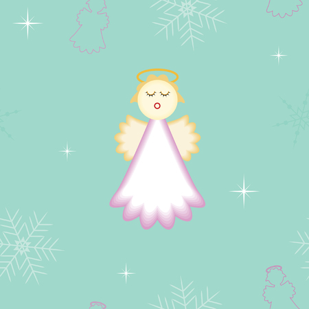 seamless Christmas angel with snowflakes and stars background