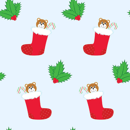 seamless tiling Christmas background with stockings and holly. The stocking contains a teddy bear and candy cane.