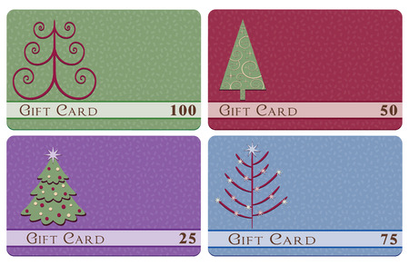 set of four Christmas tree gift cards  Illustration