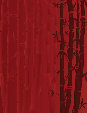 illustration of bamboo stalks on red background Vectores