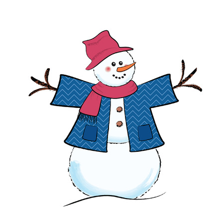 cute cartoon snowman wearing jacket scarf and floppy hat