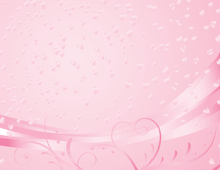 pink gradient background with flourishes and hearts Ilustração
