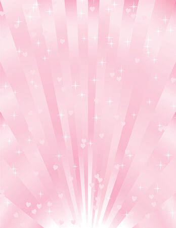 shiny pink sunburst background with hearts and stars