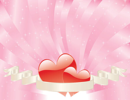 two red hears tucked into a banner with a swirling shiny pink sunburst background sparkling with stars