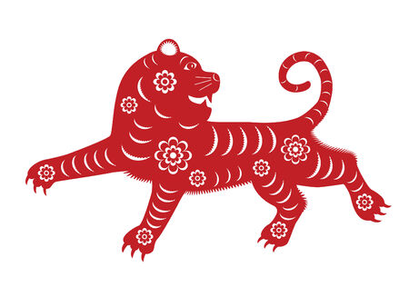 year of the tiger: Isolated red paper-cut tiger for Chinese New Year 2010