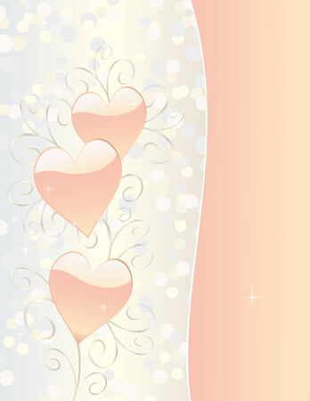 Three glossy hearts surrounded by delicate scrolls, bokeh circles and sparkling stars