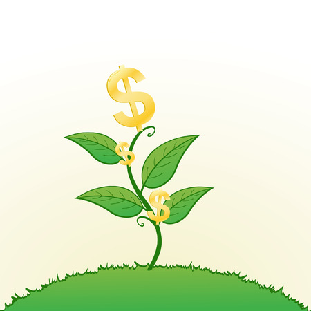 Illustration of dollar signs on a plant convey the concept of growing wealth