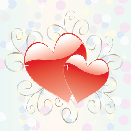 Two glossy hearts surrounded by delicate scrolls, bokeh circles and sparkling stars
