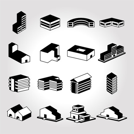 residential structure: Building icon. Icons warehouse. Icons dormitory. Illustration