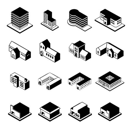 residential structure: Buildings icons. Vector illustration.