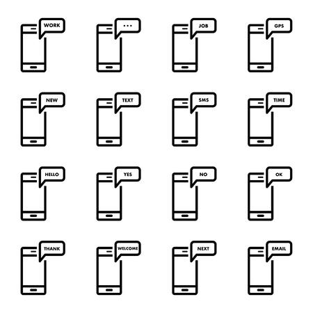 smartphone icon: Smartphone message icon. sign symbol.