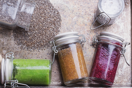 smoothie: Clean eating snacks: take away chia smoothies. Berry chia smoothie, spinach and apple smoothie, yogurt smoothie