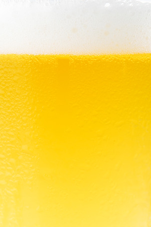 Glass of fresh beer with cap of foam on white background photo