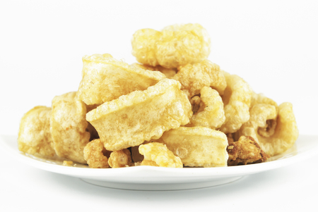 crackling: Pork rinds also known as chicharon or chicharrones, deep fried pork skin
