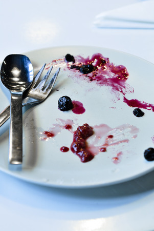 An empty plate, dirty after the meal is finished.