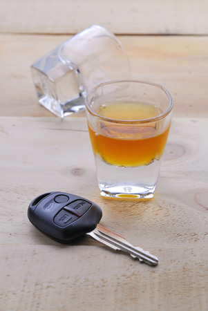 dwi: Shot glass with car keys Stock Photo