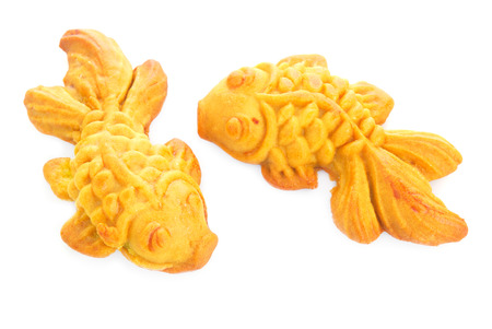 moon fish: Moon cake in gold fish shape  or Chinese cake mung bean