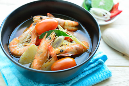 goong: Tom Yum Goong - Thai hot and spicy soup seafood with shrimp - Thai Cuisine