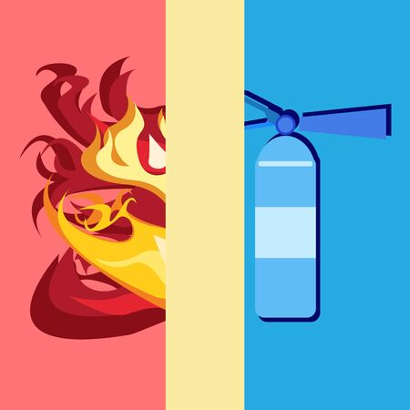 objects with clipping paths: Fire and Fire extinguisher concept for safety from fire flat design