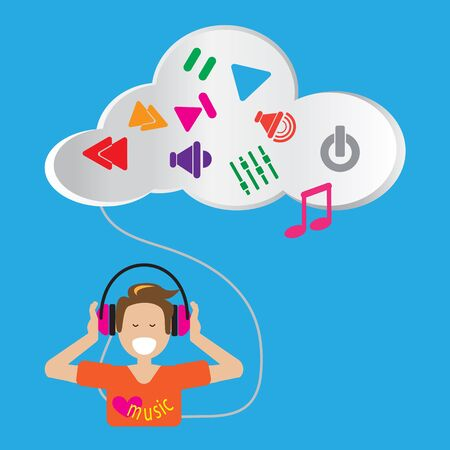 live stream listening: Happy people happy to listen music from cloud